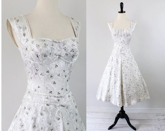 "vintage 1950s 50s wedding dress - ""After Party"" dress"