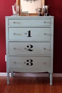 vinyl numbers on dresser