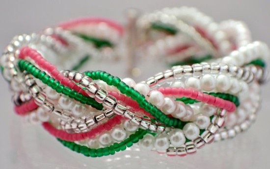 Beaded Braid Bracelet in Pink Green and White by earringznthingz4u, $21.00