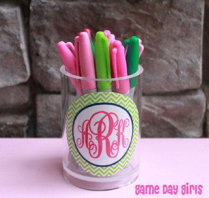 Monogrammed Pen Cup