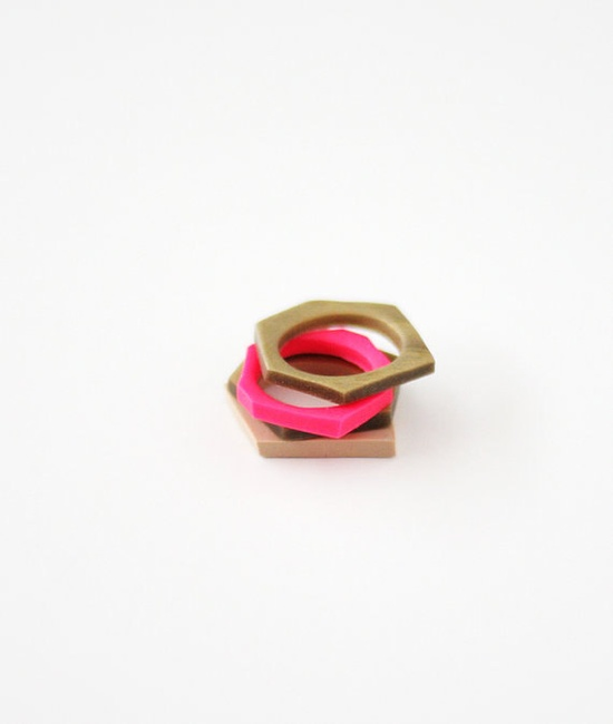 pick a color hand cut geometric stacking rings. $12,99, via Etsy.