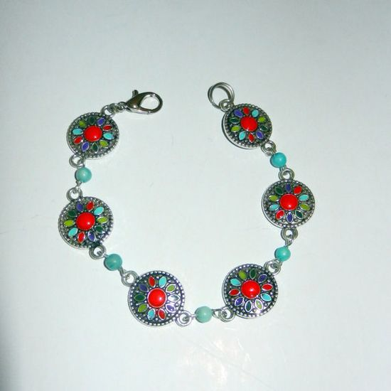 Red and Turquoise Metal Beaded Bracelet by CloudNineDesignz, $18.75