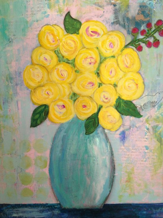 Yellow Roses Original Painting, Flowers in Vase, Canvas 14x18, Collage Mixed Media, Blue, Green on Etsy, $117.00