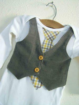 Baby boy onesie with appliqued tie, and vest.