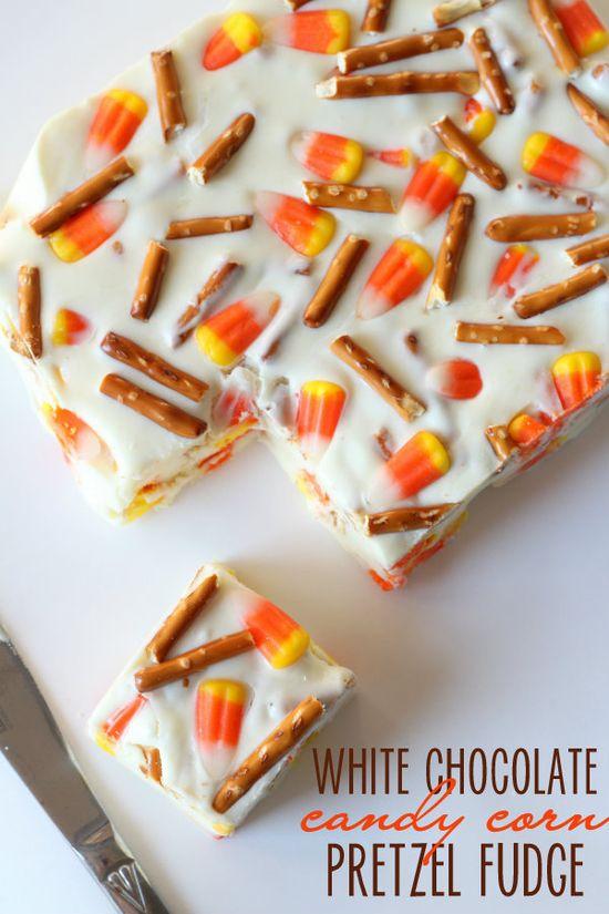 White Chocolate Candy Corn Pretzel Fudge { lilluna.com } #fudge