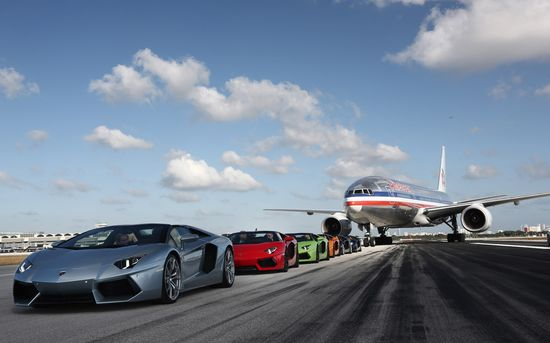 2013 Lamborghini Aventador Roadsters with American Airlines Boeing 767.