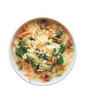 While the couscous is still warm, fold in the baby spinach so that it wilts and becomes tender. Get the recipe for Couscous With Carrots, Spinach, and Pistachios.
