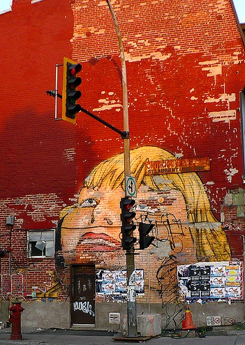 Mural on brick building, St. Laurent-Des Pins, Montreal, Canada, 2007.