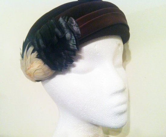 Vintage Brown Velvet Hat with Feathers and by ThePrancingFox, $36.00