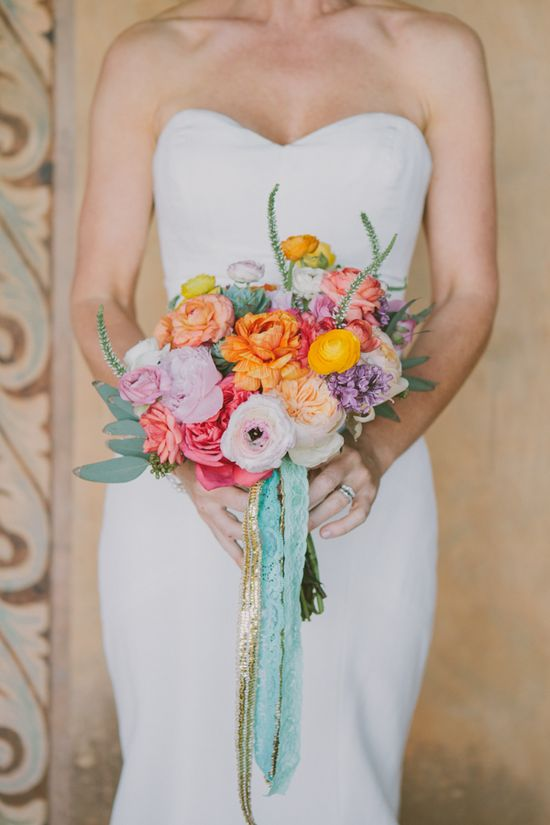 colorful wedding bouquet by primary petals. See more of this Malibu wedding here www.weddingchicks...