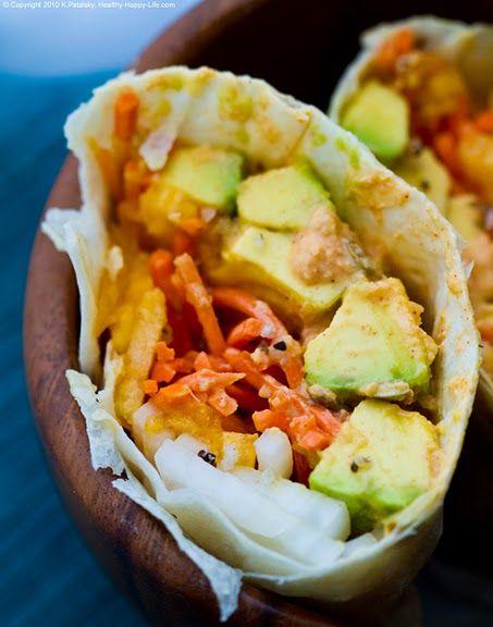 Avocado Veggie Wrap w/ Chipotle Lime Sauce #Yum #Healthy #Snacks