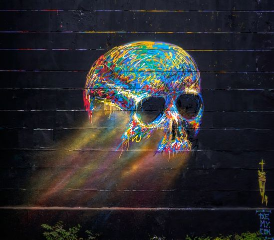 Washed away skull