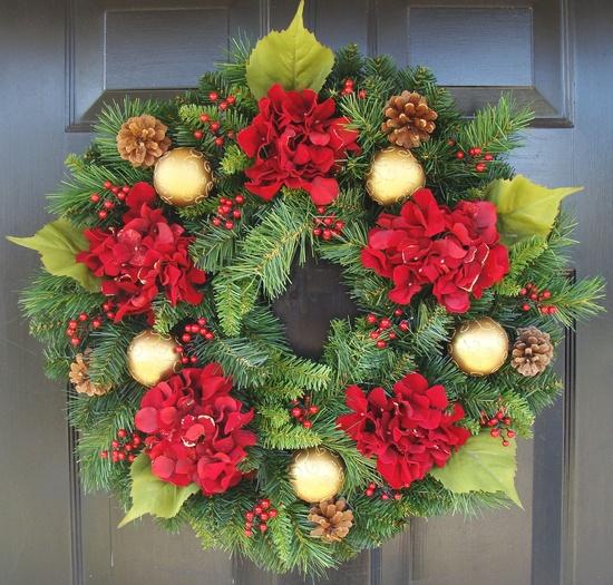 Hydrangea Christmas Wreath, Christmas Decor, Gift for Her, Wreath for Christmas. $75.00, via Etsy.