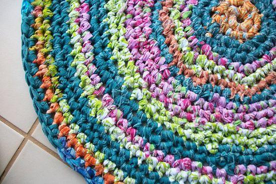 Round rag rug crocheted fabric handmade home by ThePeacefulHeart, $56.00