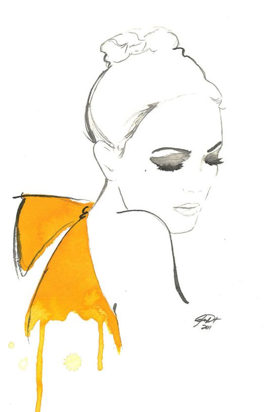 Watercolor Fashion Illustration  The Yellow by JessicaIllustration, $25.00