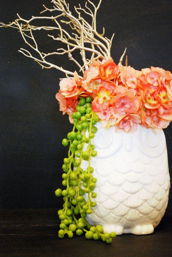 Olivia Owl Faux Flower Arrangement