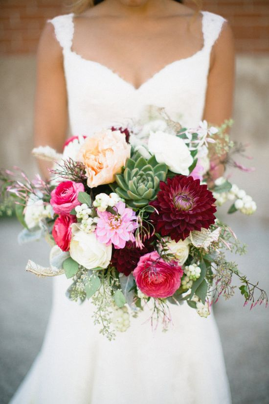 Dress and bouquet.