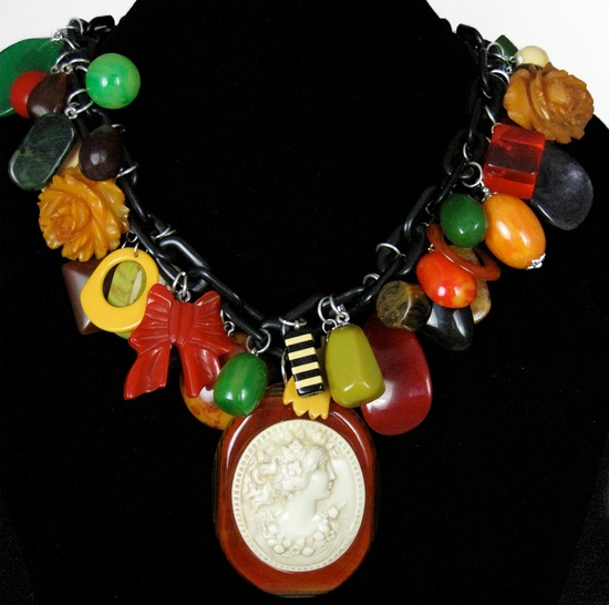 Bakelite Charm Necklace with 1930s Cameo