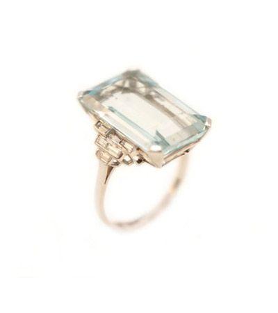 art deco aquamarine + diamond ring