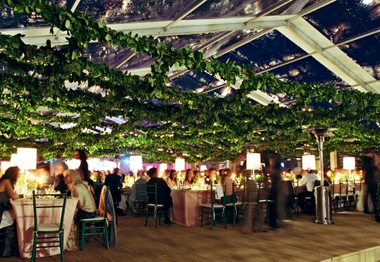 greened-out reception tent