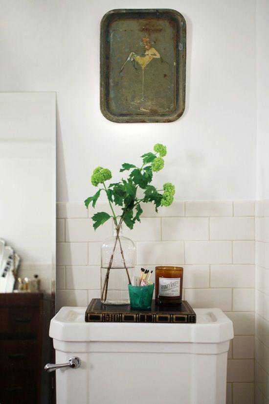 tray of essentials, tiny bathroom style