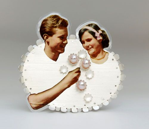 Jana Machatova  Brooch: Love is Love III 2011  Silver,paper in lamineted plastic