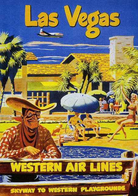 Well, we clearly know where the Marlborough Man was staying that weekend :) #Las #Vegas #travel #poster #vintage #1950s #fifties #retro  #illustration #ad