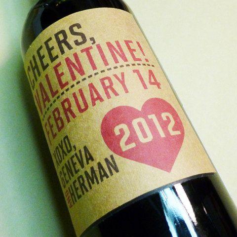 diy valentine's day wine label. cute!