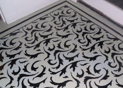 Stencilled floor:    Painted concrete floor.