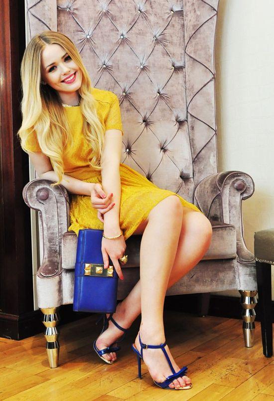 yellow lace, royal blue.