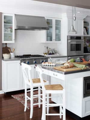 Industrial style kitchen featured on Country Living with our Napoleon® Barstool. #potterybarn