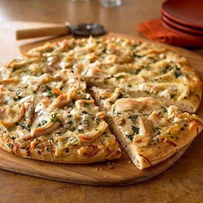 Chicken hummus pizza