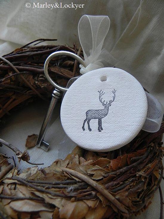 Deer White Ceramic Tag  set of 3 by marleyandlockyer on Etsy, $8.00