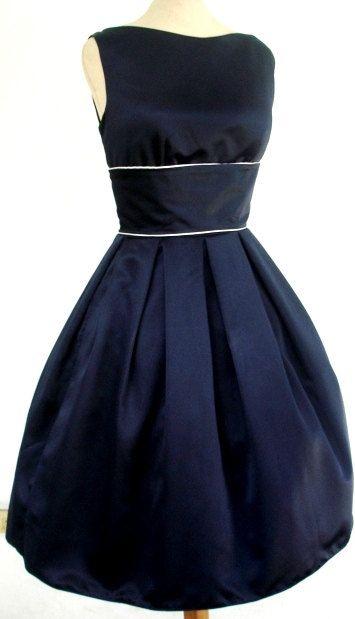 A simple but striking 50s Cocktail Dress in Navy Matt Satin Customize