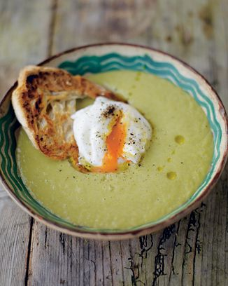 creamy asparagus soup with a poached egg on toast.