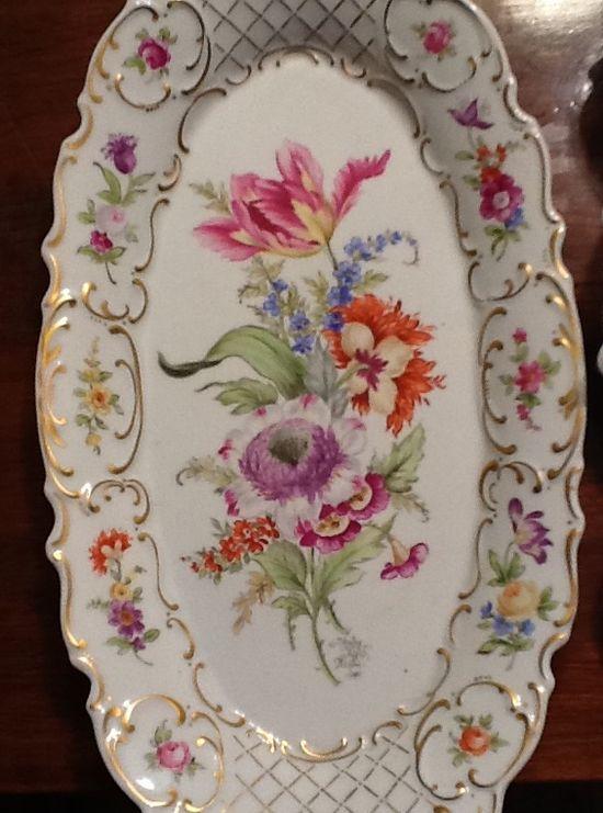 Antique Meissen Dresden Porcelain Inkwell Lid Under Plate Hand Painted Flower Pattern Gold Gilt