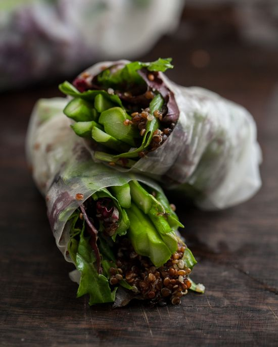 grilled asparagus and chili-orange quinoa spring rolls from naturally ella