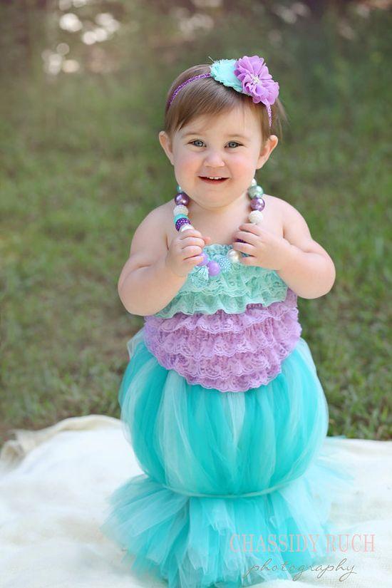 """Halloween Costume - Mermaid Costume - """"Tutu Cute"""" Mermaid - Girl Toddler Baby Infant Newborn Halloween Costume"""