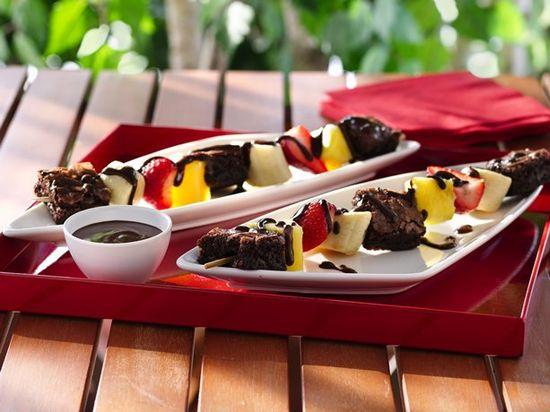 Brownie 'N Fruit Kabobs. Good catering idea