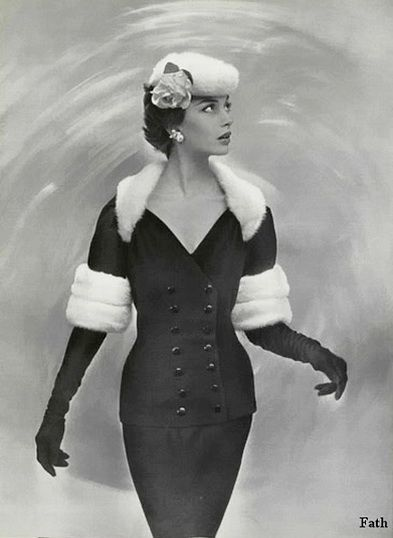 A beautifully elegant fur adorned outfit by Jacques Faith, 1955, #vintage #fashion #1950s