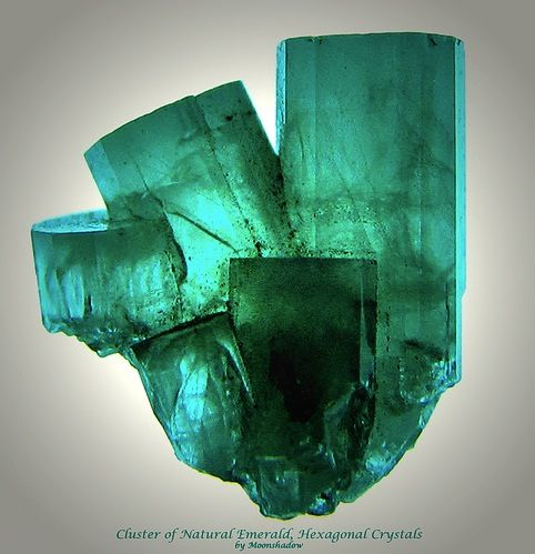 Cluster of Natural Emerald, Hexagonal Crystals by Moonshadow-, via Flickr