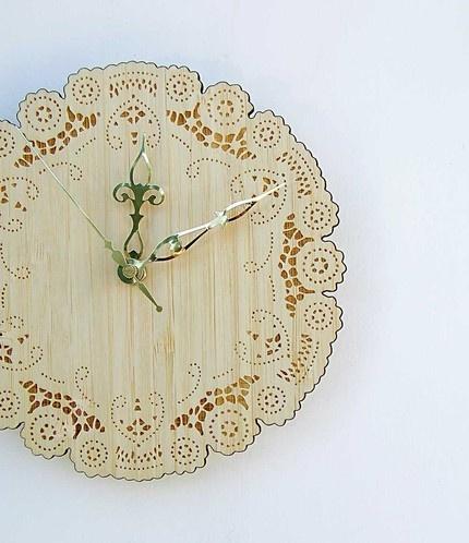 bamboo doily clock.