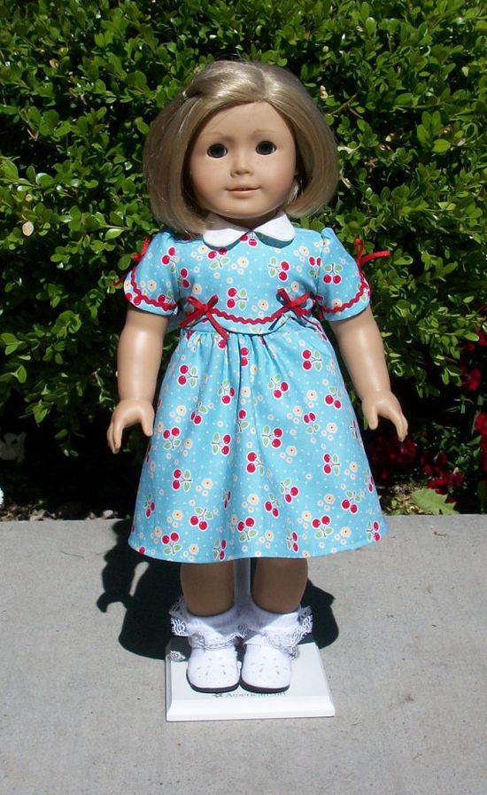 American Girl 1930s cherry dress by RuthielovestoSew on Etsy, $32.00