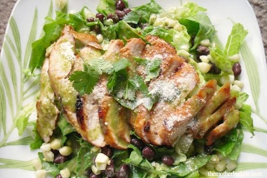 Barbecue Chicken Salad w/Cilantro-Honey-Lime Dressing