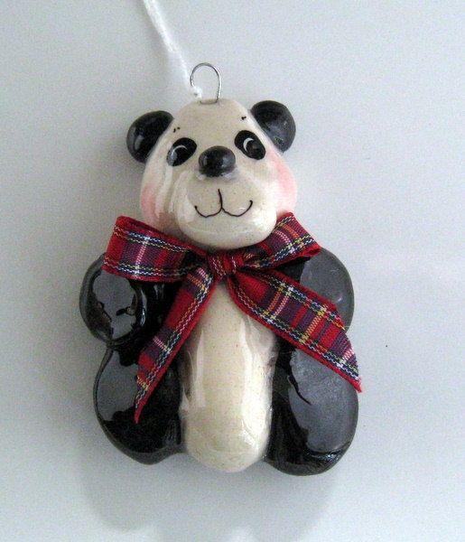 Panda Ornament handmade bread dough by judy caron by