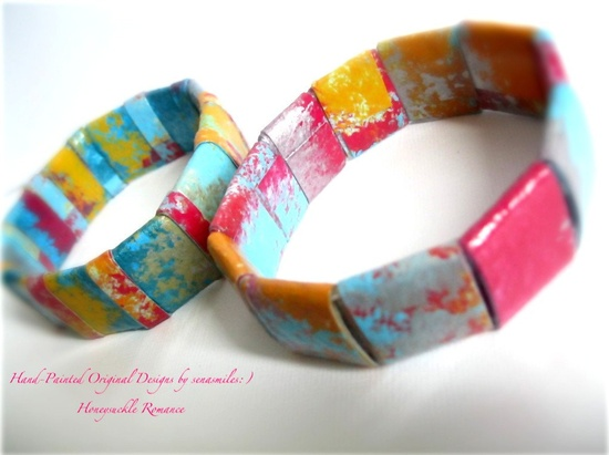 Multicolored Bohemian Jewelry  Bangles Hand by PaperMeJewels, $22.00