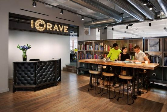 """When you step in to ICRAVE's studio, you'll catch the big bold moves – the ever-changing mural, the marquee signage, the bookshelves made of kitchen sinks – but we designed our studio not just as a place to foster inspiration and creative energy, but also as a place of hospitality.  The goal was to create a smart, flexible space that is truly functional."" officesnapshots.com/"