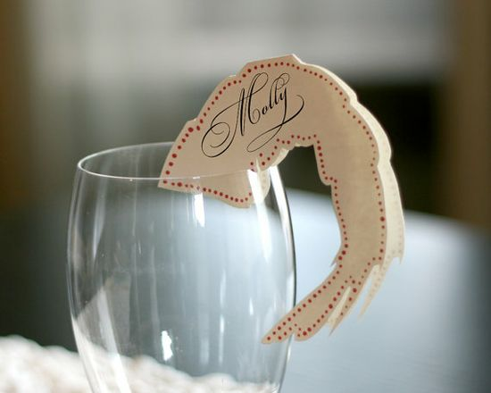 """A pick from the editors at Remodelista: """"Add a dash of playful nautical to your next summer party with Timeless Paper's marine life place cards (including these jaunty shrimp)."""" #Remodelista #NauticalJuly"""
