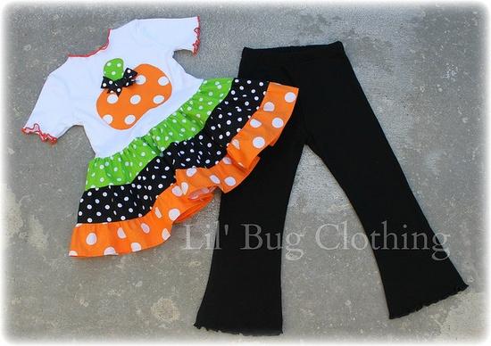 Halloween Pumpkin Tiered Polka Dot  Tee Top Custom Boutique Clothing Black Knit  Lettuce Edge Comfy Leggings. $45.00, via Etsy.