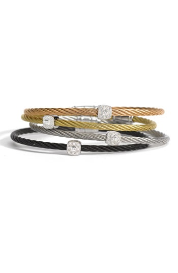 """Charriol """"Nautica Cable"""" bracelets.  Classic and industrial at the same time."""